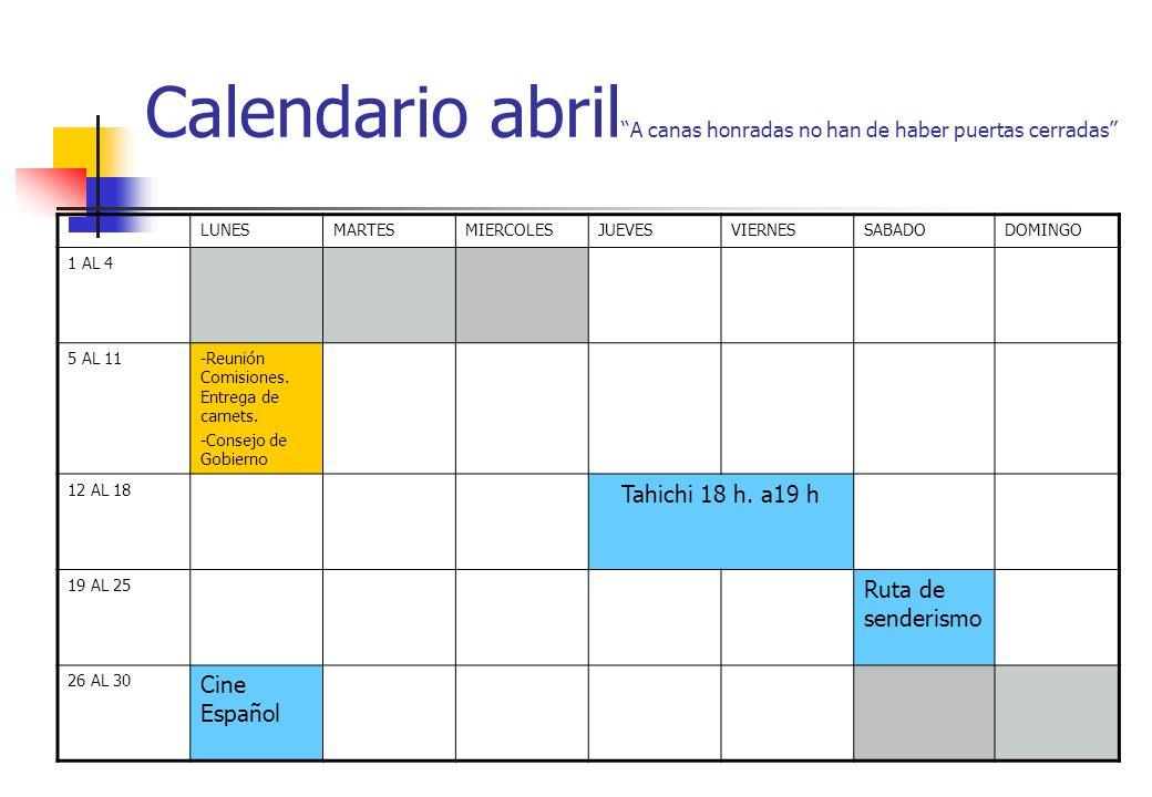 Calendario abril A canas honradas no han de haber puertas cerradas