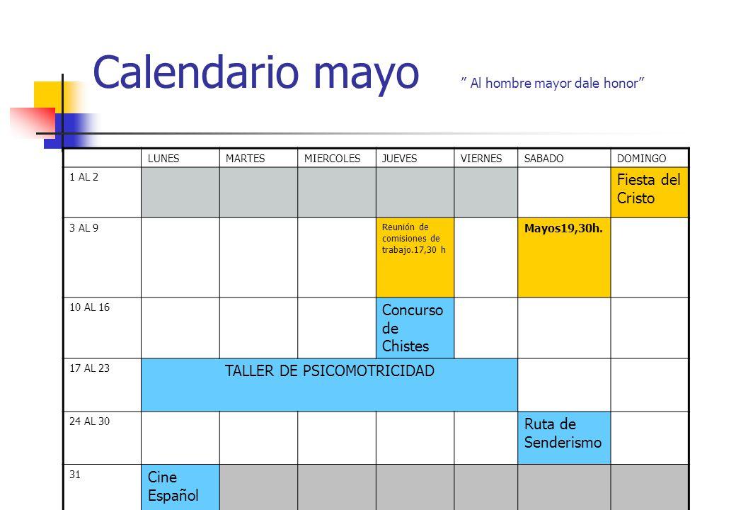 Calendario mayo Al hombre mayor dale honor
