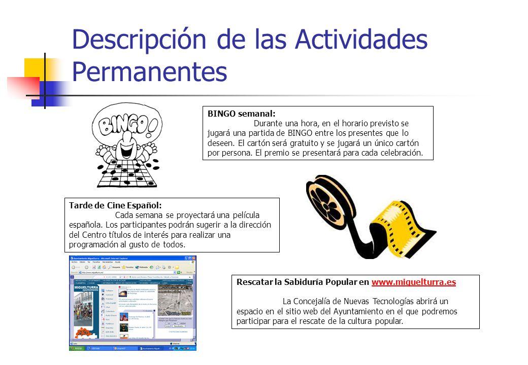 Descripción de las Actividades Permanentes