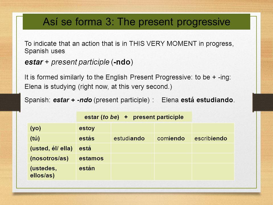 estar (to be) + present participle