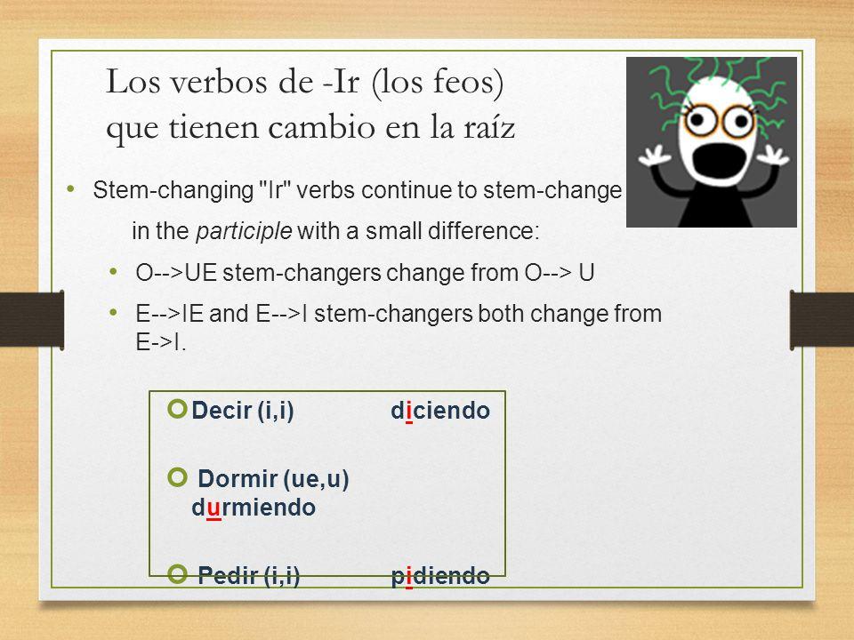 Los verbos de -Ir (los feos) que tienen cambio en la raíz
