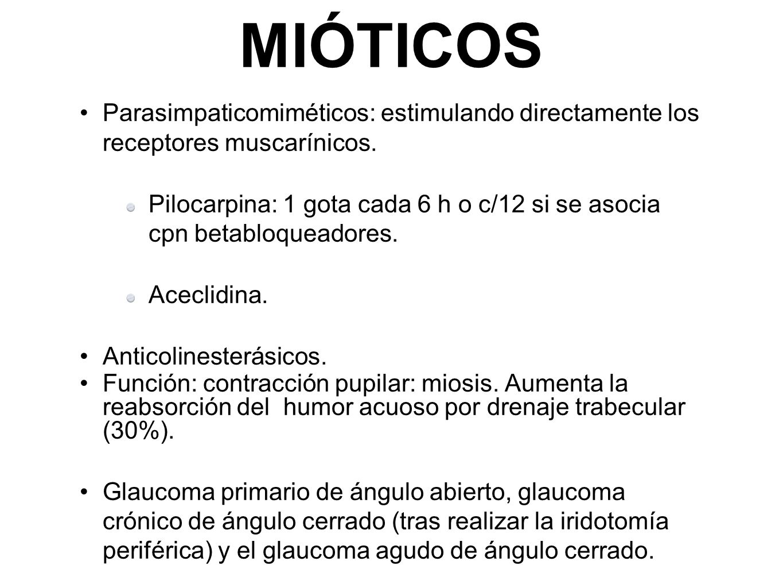 MIÓTICOS Parasimpaticomiméticos: estimulando directamente los receptores muscarínicos.