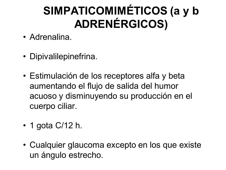 SIMPATICOMIMÉTICOS (a y b ADRENÉRGICOS)