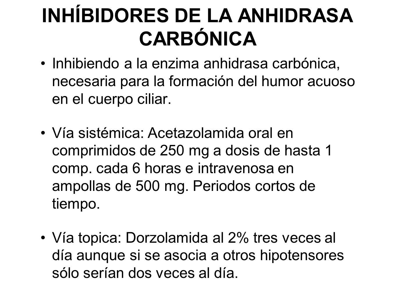 INHÍBIDORES DE LA ANHIDRASA CARBÓNICA