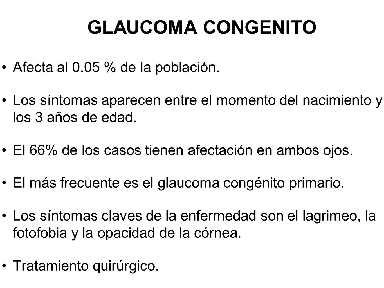 GLAUCOMA CONGENITO Afecta al 0.05 % de la población.