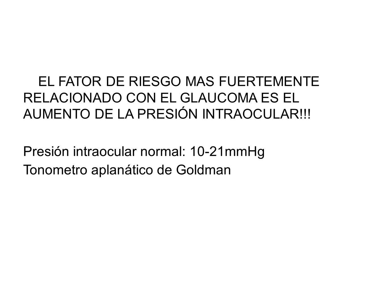 EL FATOR DE RIESGO MAS FUERTEMENTE RELACIONADO CON EL GLAUCOMA ES EL AUMENTO DE LA PRESIÓN INTRAOCULAR!!!
