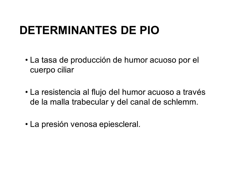 DETERMINANTES DE PIOLa tasa de producción de humor acuoso por el cuerpo ciliar.