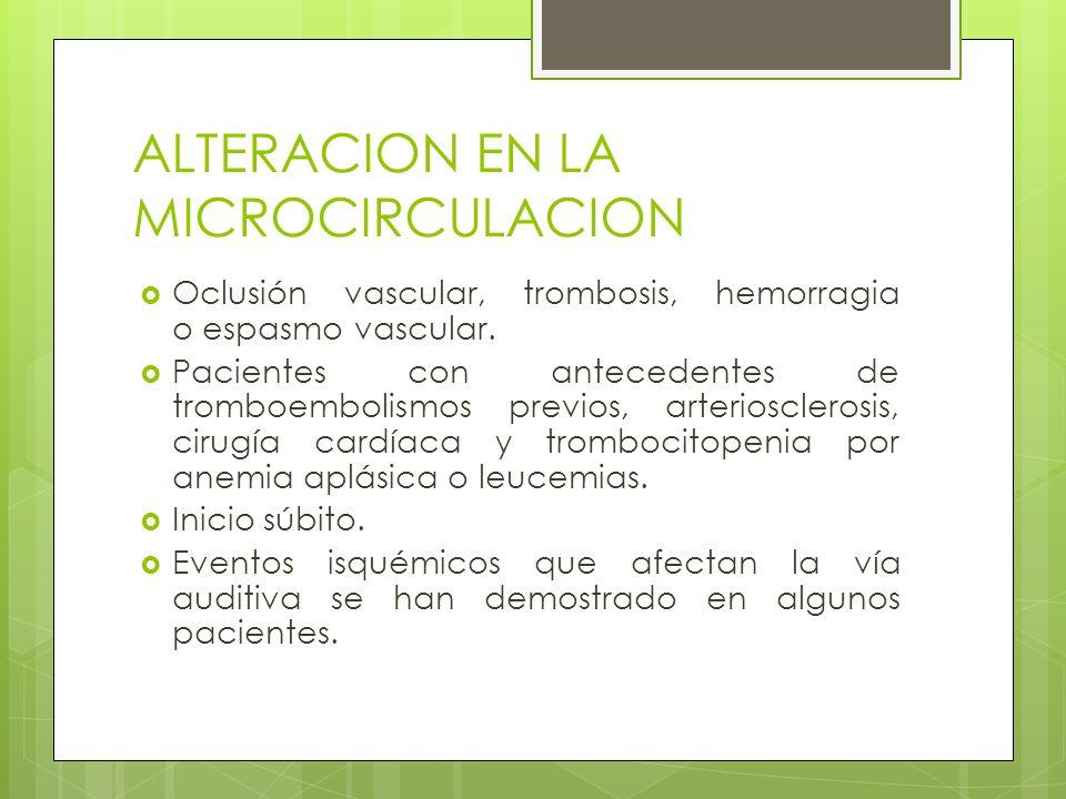 ALTERACION EN LA MICROCIRCULACION