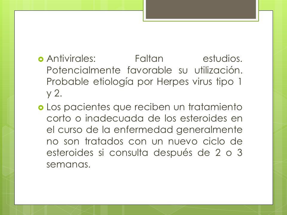 Antivirales: Faltan estudios. Potencialmente favorable su utilización