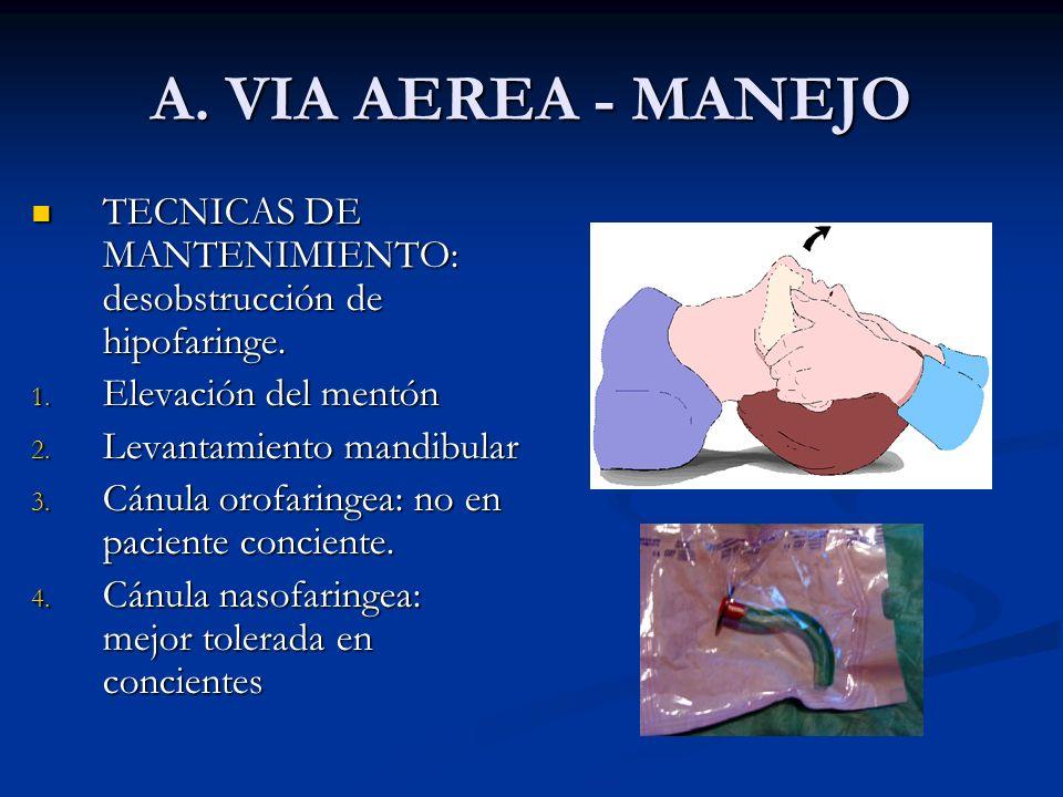 A. VIA AEREA - MANEJO TECNICAS DE MANTENIMIENTO: desobstrucción de hipofaringe. Elevación del mentón.
