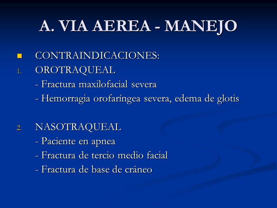 A. VIA AEREA - MANEJO CONTRAINDICACIONES: OROTRAQUEAL