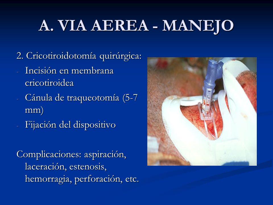 A. VIA AEREA - MANEJO 2. Cricotiroidotomía quirúrgica: