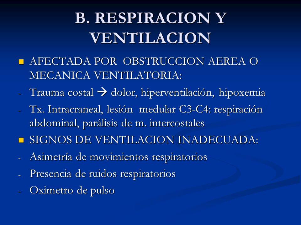 B. RESPIRACION Y VENTILACION