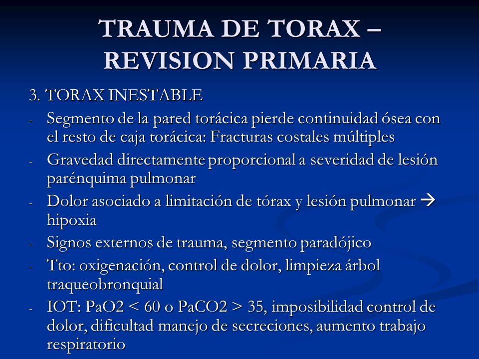 TRAUMA DE TORAX – REVISION PRIMARIA