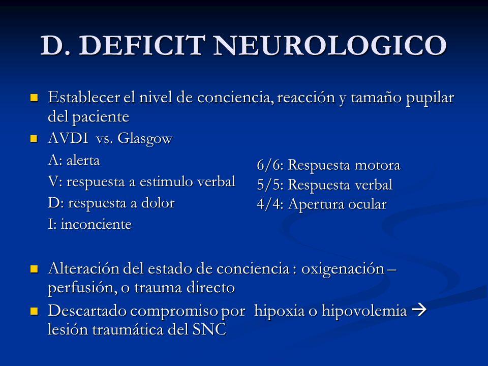 D. DEFICIT NEUROLOGICOEstablecer el nivel de conciencia, reacción y tamaño pupilar del paciente. AVDI vs. Glasgow.
