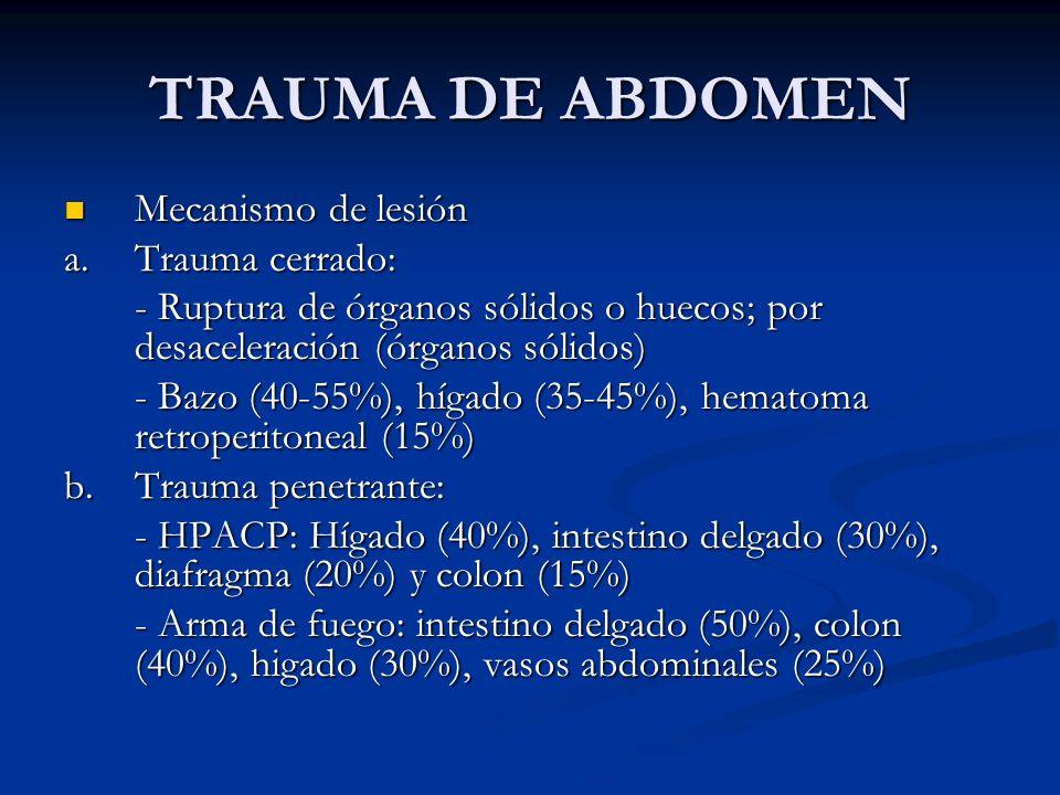 TRAUMA DE ABDOMEN Mecanismo de lesión a. Trauma cerrado: