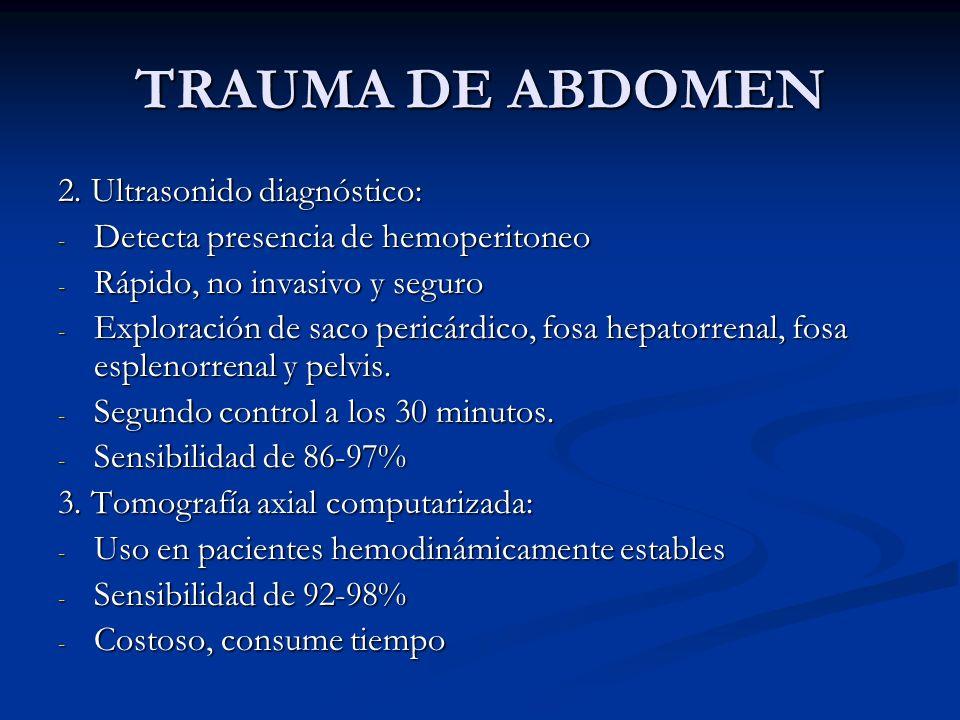 TRAUMA DE ABDOMEN 2. Ultrasonido diagnóstico: