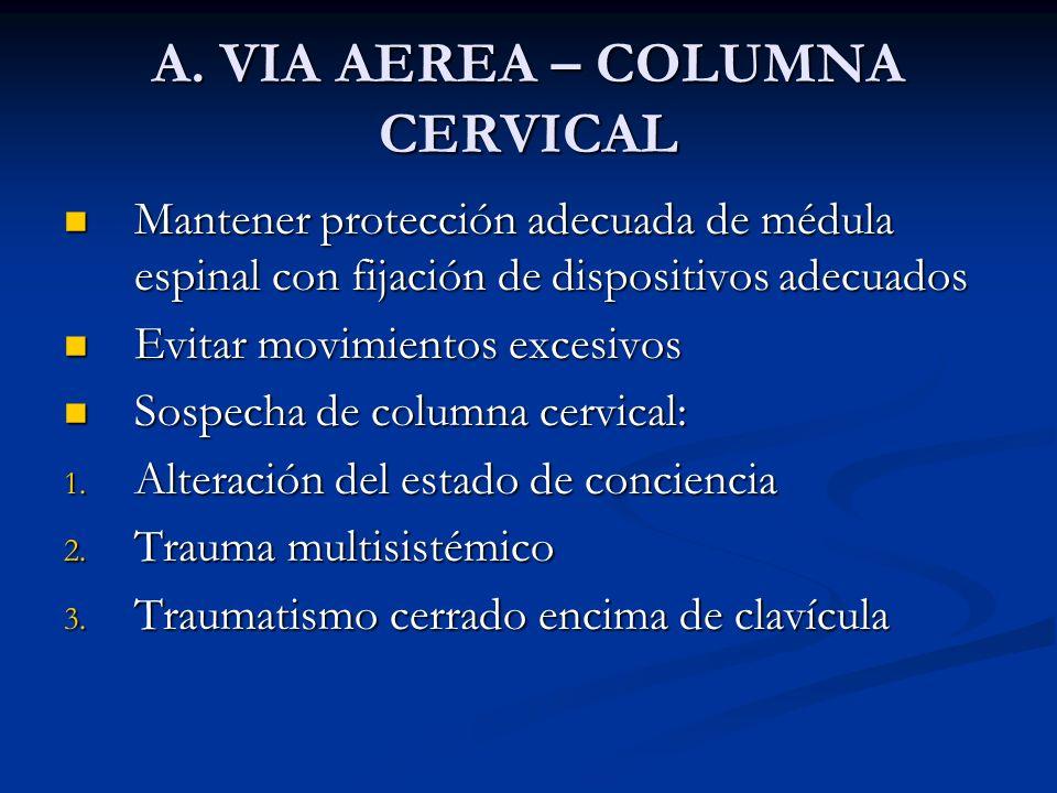 A. VIA AEREA – COLUMNA CERVICAL