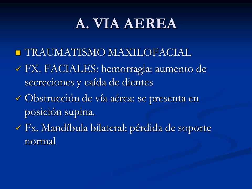 A. VIA AEREA TRAUMATISMO MAXILOFACIAL