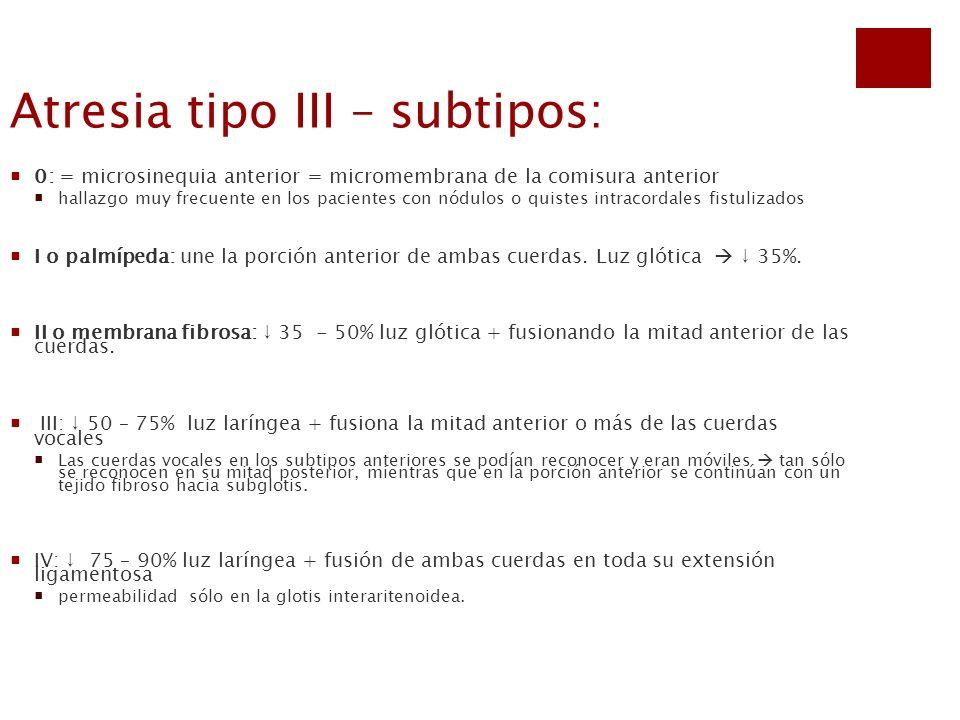 Atresia tipo III – subtipos: