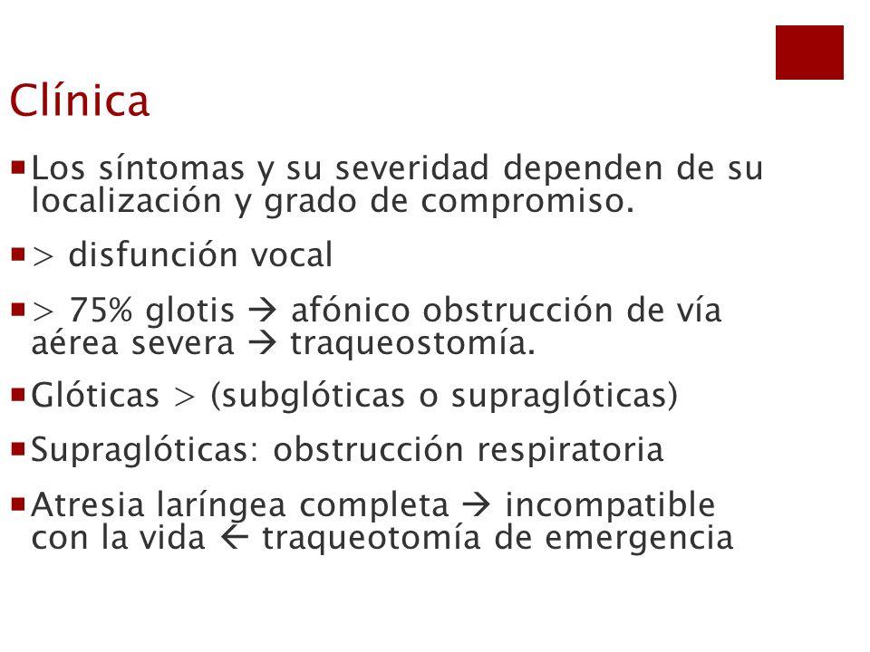 Clínica Los síntomas y su severidad dependen de su localización y grado de compromiso. > disfunción vocal.