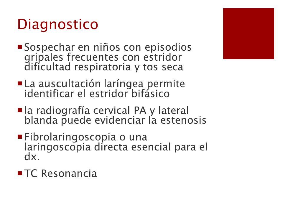 Diagnostico Sospechar en niños con episodios gripales frecuentes con estridor dificultad respiratoria y tos seca.
