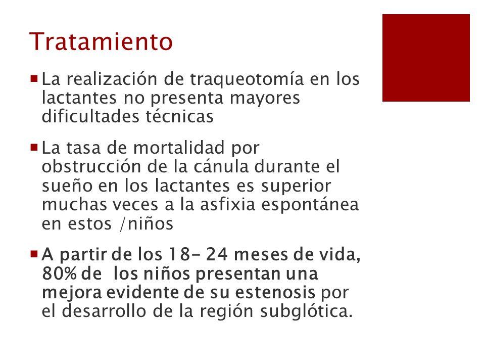 TratamientoLa realización de traqueotomía en los lactantes no presenta mayores dificultades técnicas.