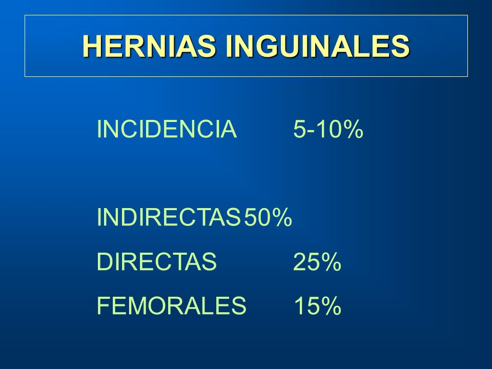 HERNIAS INGUINALES INCIDENCIA 5-10% INDIRECTAS 50% DIRECTAS 25%