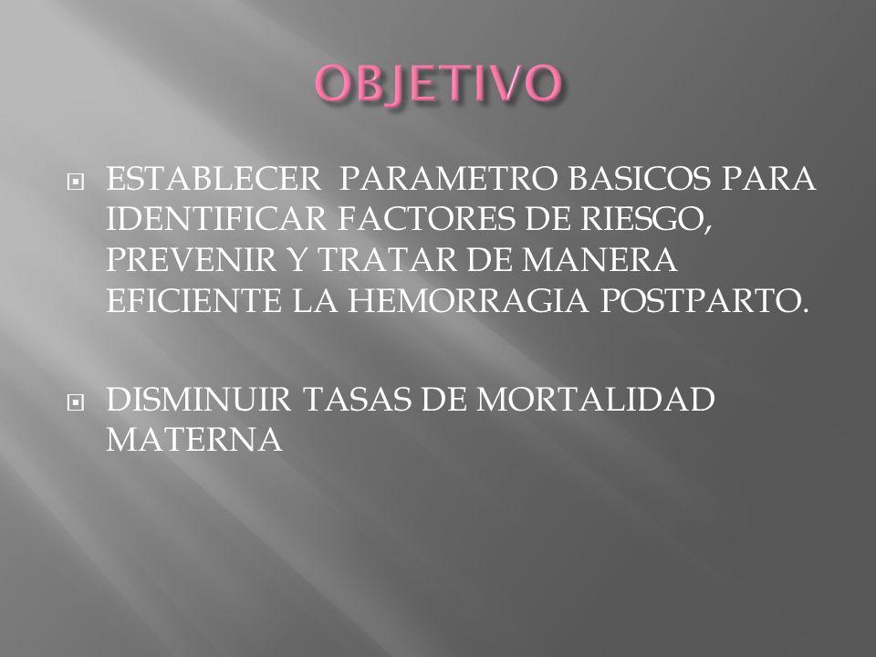 OBJETIVOESTABLECER PARAMETRO BASICOS PARA IDENTIFICAR FACTORES DE RIESGO, PREVENIR Y TRATAR DE MANERA EFICIENTE LA HEMORRAGIA POSTPARTO.