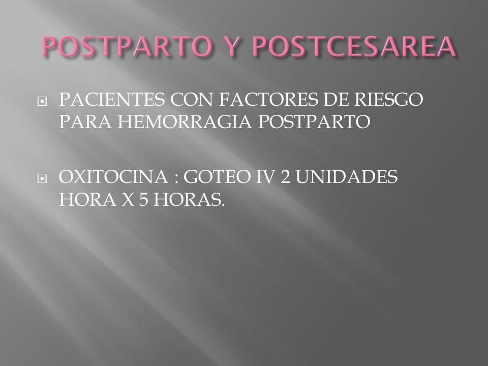 POSTPARTO Y POSTCESAREA