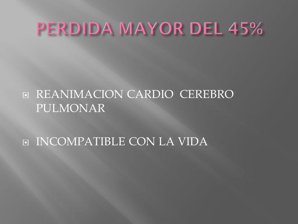 PERDIDA MAYOR DEL 45% REANIMACION CARDIO CEREBRO PULMONAR