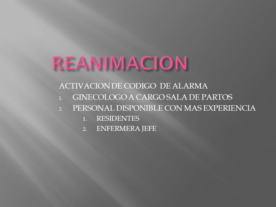 REANIMACION ACTIVACION DE CODIGO DE ALARMA