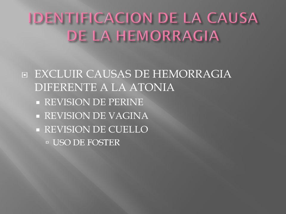 IDENTIFICACION DE LA CAUSA DE LA HEMORRAGIA