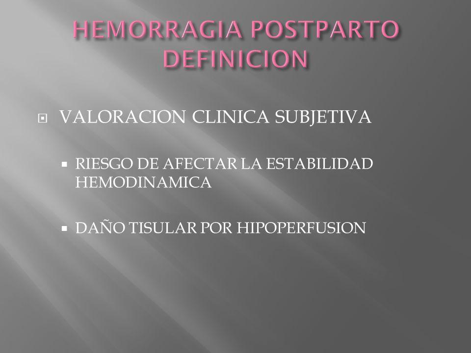 HEMORRAGIA POSTPARTO DEFINICION