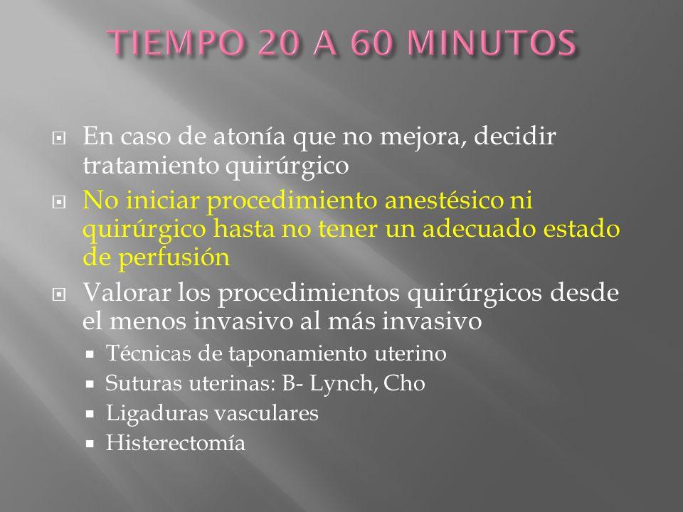 TIEMPO 20 A 60 MINUTOS En caso de atonía que no mejora, decidir tratamiento quirúrgico.