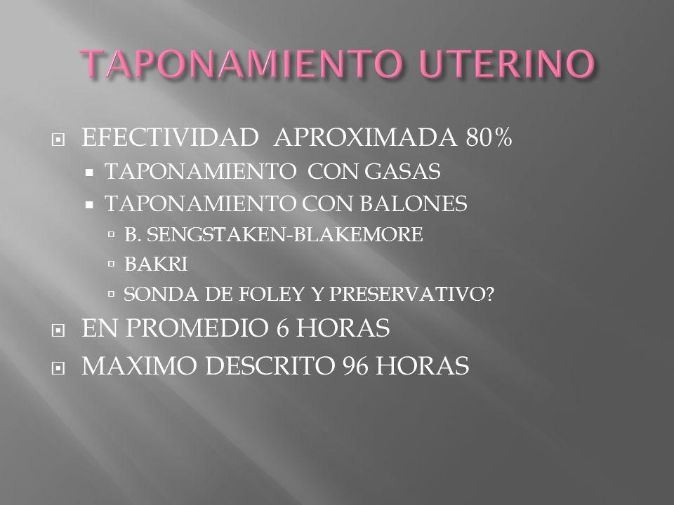 TAPONAMIENTO UTERINO EFECTIVIDAD APROXIMADA 80% EN PROMEDIO 6 HORAS