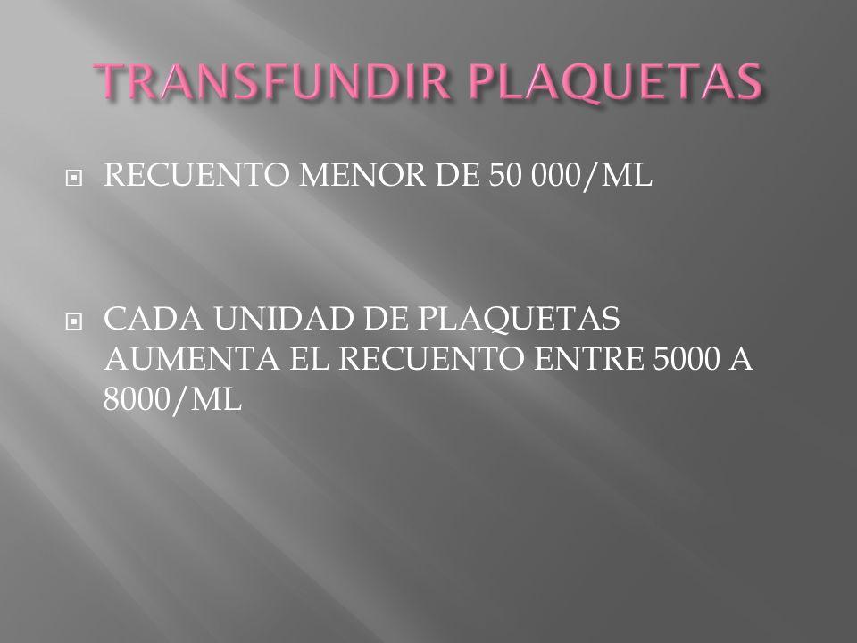 TRANSFUNDIR PLAQUETAS
