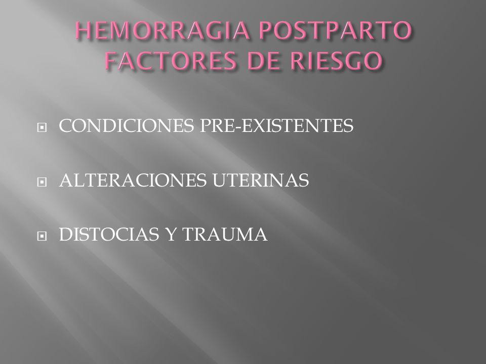 HEMORRAGIA POSTPARTO FACTORES DE RIESGO