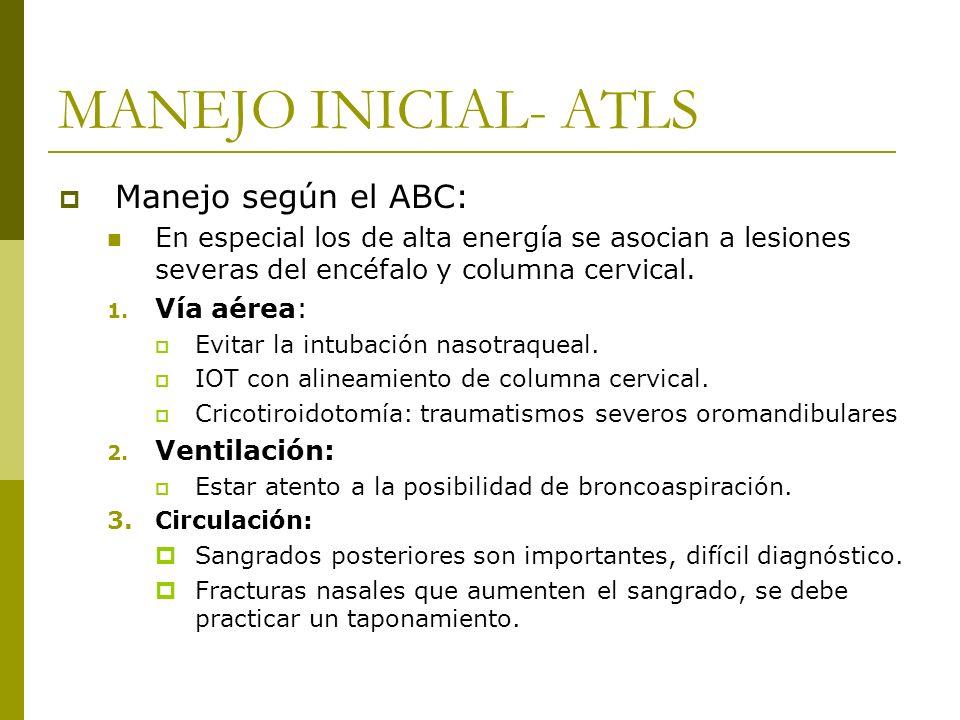 MANEJO INICIAL- ATLS Manejo según el ABC: