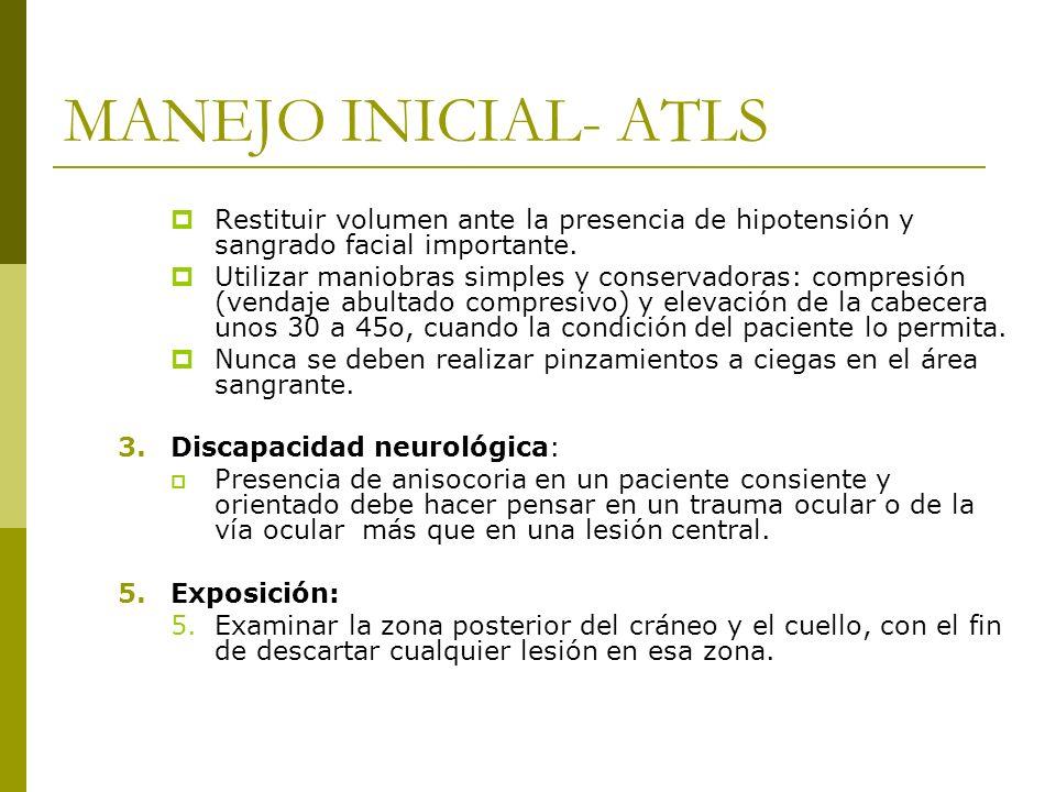 MANEJO INICIAL- ATLSRestituir volumen ante la presencia de hipotensión y sangrado facial importante.
