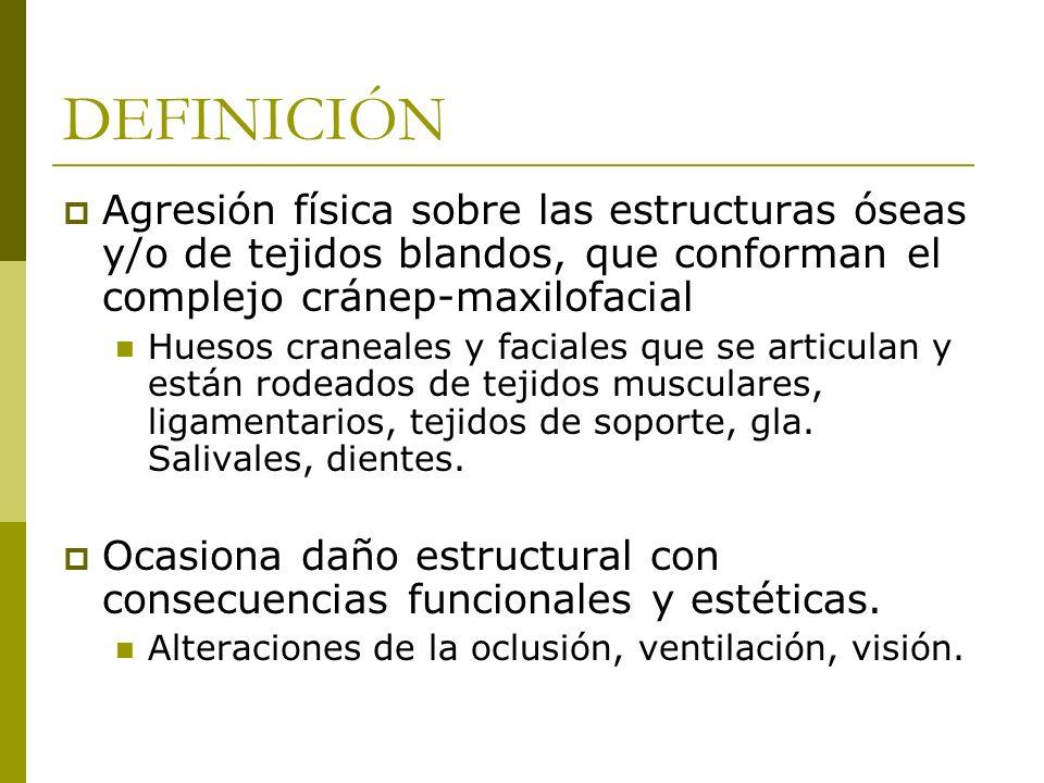 DEFINICIÓNAgresión física sobre las estructuras óseas y/o de tejidos blandos, que conforman el complejo cránep-maxilofacial.