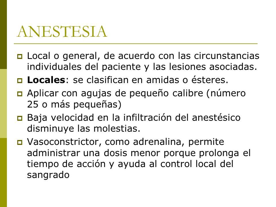 ANESTESIA Local o general, de acuerdo con las circunstancias individuales del paciente y las lesiones asociadas.
