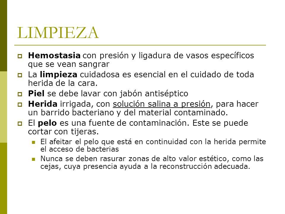 LIMPIEZA Hemostasia con presión y ligadura de vasos específicos que se vean sangrar.