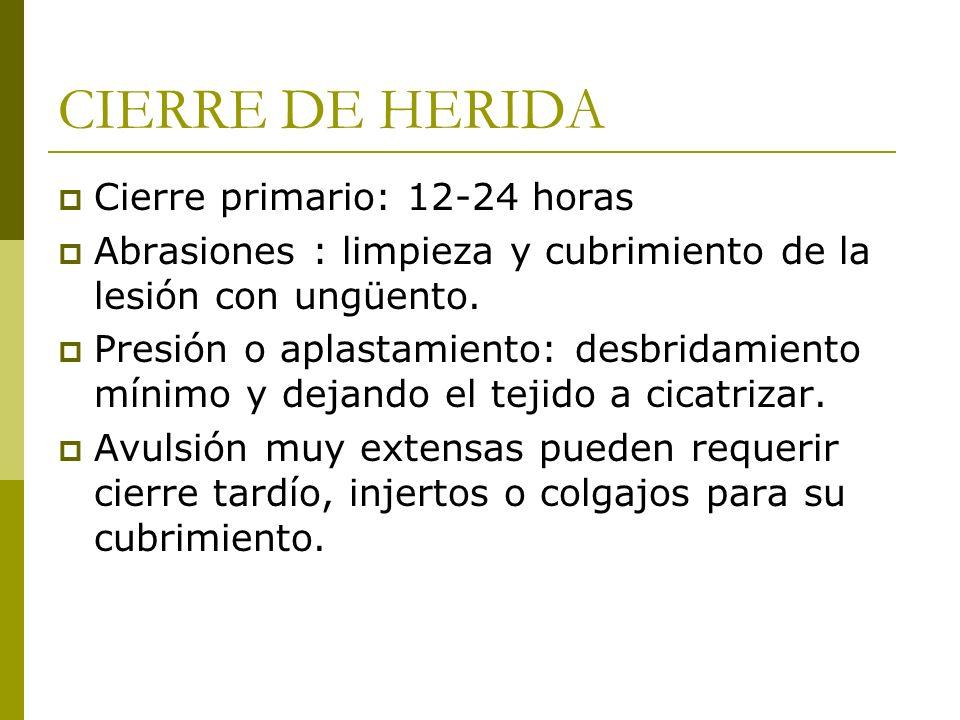 CIERRE DE HERIDA Cierre primario: 12-24 horas