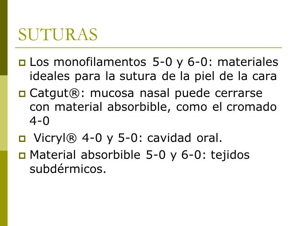 SUTURASLos monofilamentos 5-0 y 6-0: materiales ideales para la sutura de la piel de la cara.