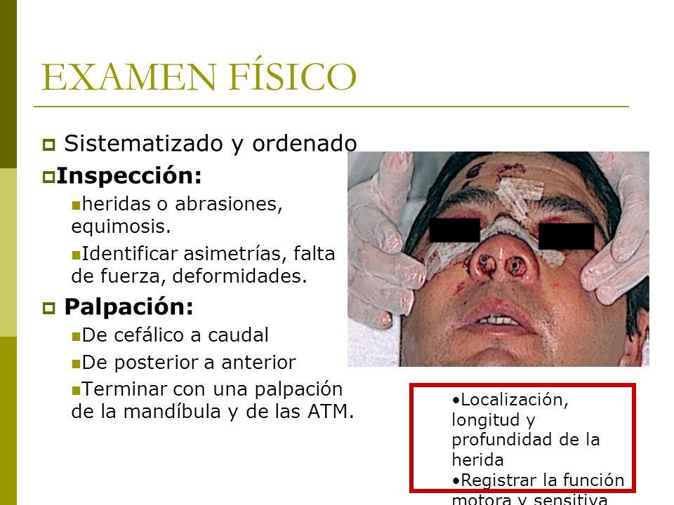 EXAMEN FÍSICO Sistematizado y ordenado Inspección: Palpación: