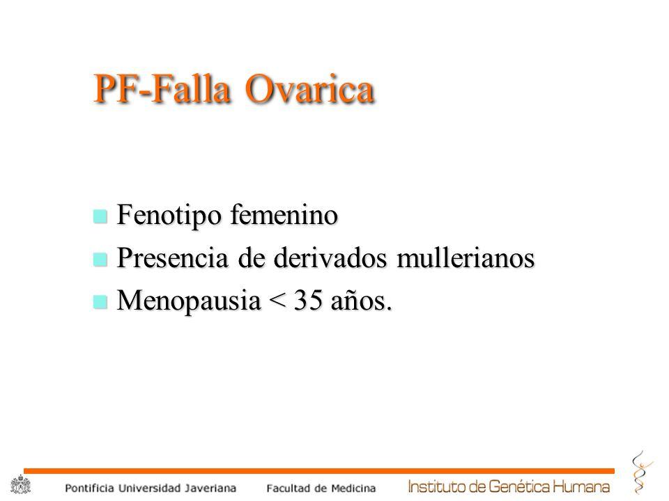 PF-Falla Ovarica Fenotipo femenino Presencia de derivados mullerianos