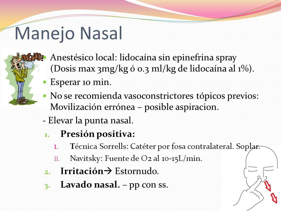 Manejo Nasal Anestésico local: lidocaína sin epinefrina spray (Dosis max 3mg/kg ó 0.3 ml/kg de lidocaína al 1%).