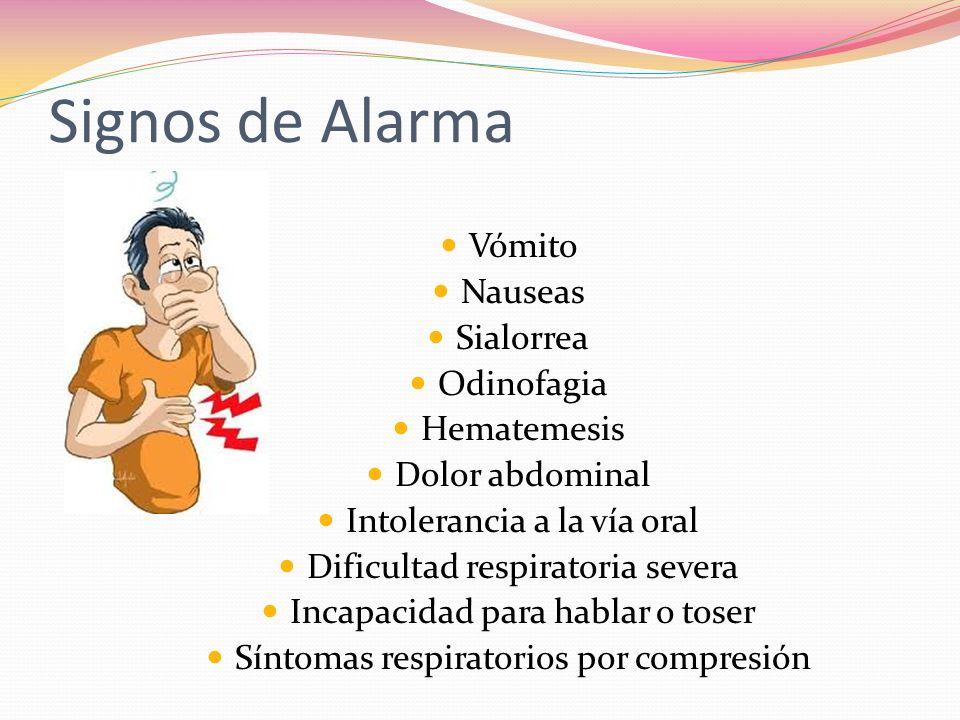 Signos de Alarma Vómito Nauseas Sialorrea Odinofagia Hematemesis