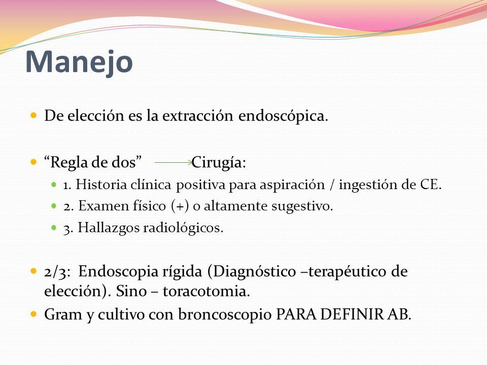 Manejo De elección es la extracción endoscópica.